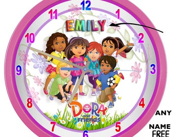 Dora and Friends Pink Quiet Metal/Glass 27.5 cm Wall Clock Girl Add a name Free
