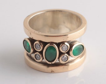 Turkish Handmade Silver 925k Emerald Ottoman Style Band Ring Fast Shipping