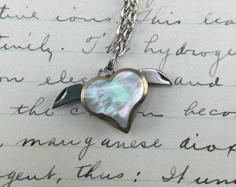 Vintage Heart Knife Pendant - Necklace - Mother of Pearl - Valentine necklace - letter opener charm