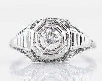 Antique Engagement Ring Art Deco .49 Round Brilliant Cut Diamond in 14k White Gold