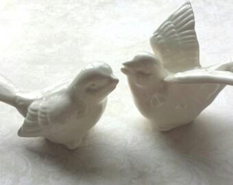 Birds Wedding Cake Topper  Love Birds White Ceramic Birds  Ceramic Bird Home Decor in Stock Ready to Ship