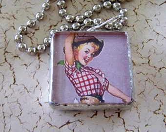 Soldered Glass Pendant Cowgirl Rodeo Jewelry Double Sided Chunky Square Glass Pendant with Cowgirl Pinups
