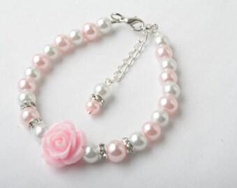 Pink Flower girl bracelet, pearl bracelet, pink rose bracelet, Pink wedding jewelry , flower girl jewelry, birthday gift, Flower girl gift