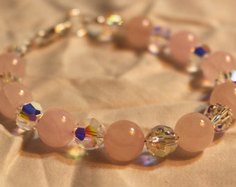 Rose quartz and Swarovski Crystal Bracelet
