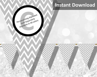 Light Gray Chevron Bunting Pennant Banner Instant Download, Party Decorations