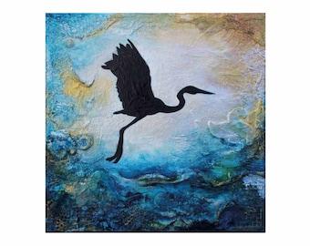 Great Egret In Flight - LIMITED EDITION art print of original artwork (A4)
