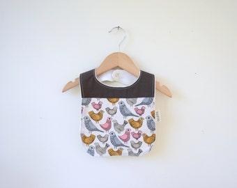 Organic Bib in Bird Song - Baby Shower Gift, Organic Toddler Bib, Fun Gender Neutral Gift