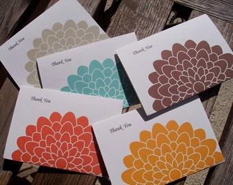 Thank You Card Set - Colored Mums, Orange Aqua Blue Brown Light Sage Green Golden Yellow, Thank You Notes