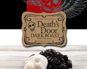 "DARK ROAST COFFEE is sure to be on any ""coffee lovers"" Valentine wish list //  DemBones Sugar Skull //  ""Coffee Gift"" // Whole Bean Coffee"