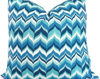 Jonathan Adler Blue and Turquoise Flame Pillow Cover 18x18, 20x20 or 22x22 or lumbar pillow, Toss Pillow, Pillow Cushion, Throw Pillow