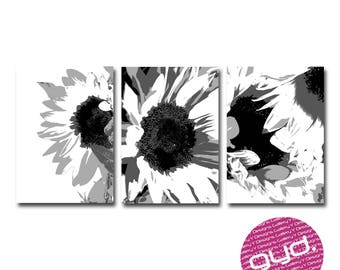 Sunflowers black and white print set.  Digital download, file download, instant download, printable