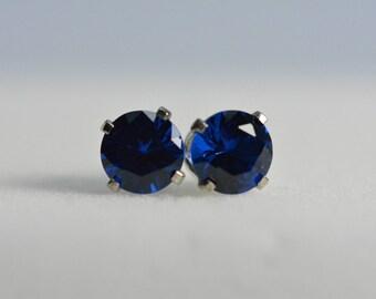 Blue Spinel Earrings   6mm, Sterling silver, blue earrings, silver studs, Gemstone earrings, Mothers day gift, spinel earrings,spinel