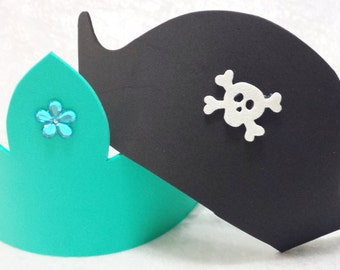 PARTY PACK Mermaid Tiara/Crown and Pirate Hat Party Favors (Mix & Match)