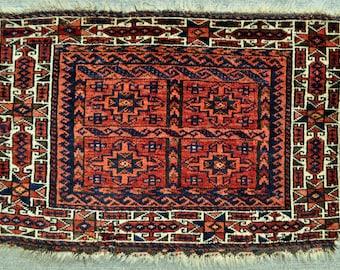 "Tribal Baluch bagface - Mat/Small rug - Nomadic Tribal wall hanging -  28"" x 19"" - 71 x 48 - Free shipping!"