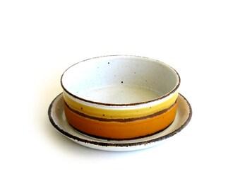 Vintage Midwinter Stonehenge Sun Oatmeal Bowls with Underplates Mod Eva Midwinter Wedgwood