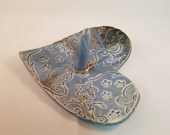 Heart Shape Ring Dish, Mothers Day Gift, Wedding Gift, Valentine Gift,  Pottery Jewelry Light Blue & Brown Embossed Dish, Trinket Dish