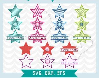 Star svg, star dxf, star eps, star stencil, star transfer, star cuttable file, star cutting files, monogram star, split monogram star
