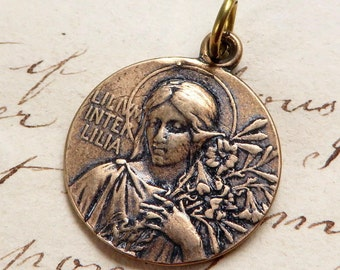 Bronze Lily Among Lilies Virgin Mary Medal - Antique Reproduction