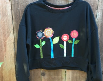 Black wide patched sweater L, Up-cycled women clothes, recycled clothing,