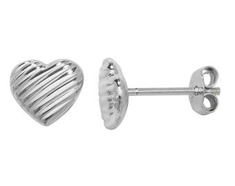925 Sterling Silver 6mm Ribbed Heart Shaped Stud Earrings