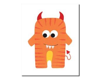 Devilish Tiger Monster Print - Children's Art Print - Cute & Friendly Monster Creature - Art for Kids - Set of Prints 4x6, 5x7, 8x10, 11x14