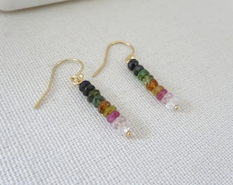 Tourmaline earrings, natural tourmaline jewelry, October birthstone birthstone earrings