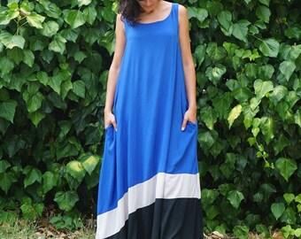 Long Maternity Dress, Plus Size Clothes, Summer Maxi Dress, Plus Size Clothing, Plus Size Dress with Pockets Large Blue Dress Tank Top Dress