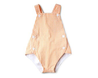 Baby Boy 1st Birthday Outfit | Hipster Baby Gift | Orange Plaid Boy Romper | Boys One Piece | First Birthday Photoshoot Outfit