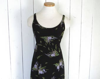 90s Maxi Dress Black Floral Print Vintage Sun Dress Express Empire Waist Dress Medium M