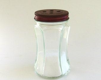 retro salt or pepper  shaker...  vintage farmhouse ...   kitchen  ...   glass and metal  shaker