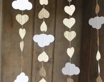 Baby Shower Decorations, Cloud Garland, Paper Garland, Book Page Garland, Book Themed Party Decoration, 10 feet long