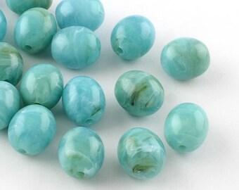 Egg Shape Acrylic Beads - Medium Aquamarine - Set of 25 - #ACR407