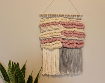 Neutral Pink, Grey & Cream Woven Wall Hanging