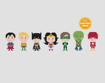 Justice League of America Cross Stitch Pattern - DC Comics - PDF Instant Download - Super Heroes Cross Stitch