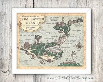 Disney Digital Print, Tom Sawyer's Island Disneyland Print, Pirate's Lair, Vintage Disney 60s Map, Disneyland Digital, INSTANT DOWNLOAD