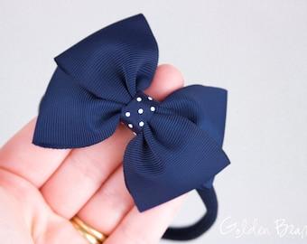 Navy Bow Headband - Navy Grosgrain Bow with Polka Dot detail Handmade Headband - Baby to Adult Headband