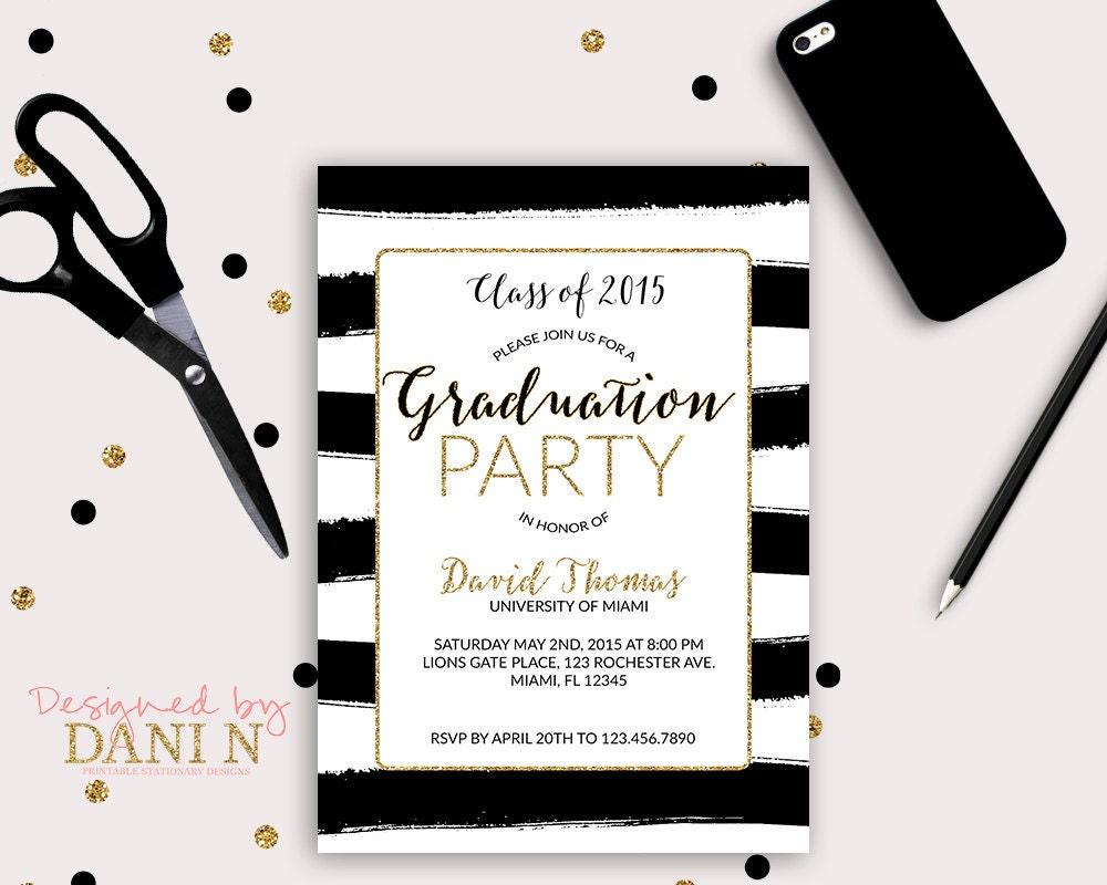 Graduation Invitation black and white Stripes Gold grad