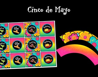 INSTANT DOWNLOAD - Printable - Cinco de Mayo Cupcake Toppers & Wrappers SET