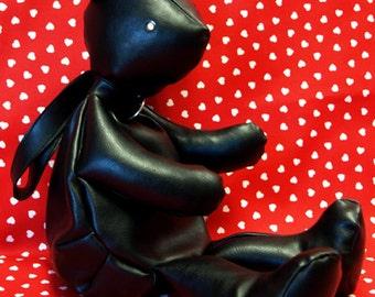 Cute Gothic Lolita black leatherette USEFUL BEAR BAG teddy