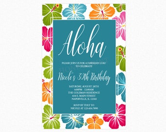 Luau Party Invitation, Luau Party, Hawaiian Luau, Hibiscus Flower Background, Personalized, Printable or Printed Invitations