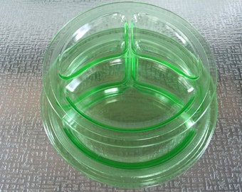 Reserved-Depression Era Green Glass Grill Plates