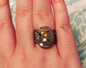 steampunk ring with vintage watch movement