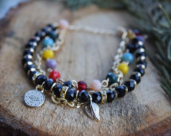 Multi Bracelet with Crystal Beads, Crystal Bracelet, Charm Bracelet, Woman Bracelet, Gift For Women, Bracelets for Women, Crystal Jewelry