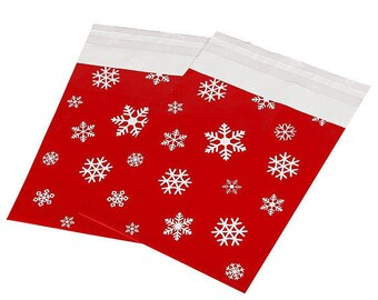 """NEW... Snowflake Print Poly Mailers 10- (10""""x13"""")"""