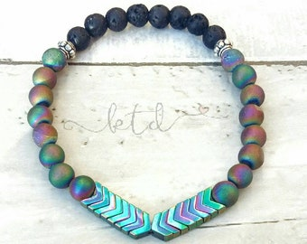 Essential oil diffuser bracelet- geode agate bracelet- chevron bracelet- aromatherapy bracelet- diffuser jewelry- gemstone and lava bracelet