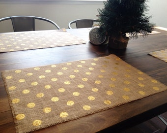 Holiday - Gold, Silver, or Red Metallic Polka Dot Burlap Placemats (set of four)