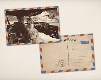 "Thank You Wedding Postcard, Modern Vintage, Retro Old Fashioned Airmail 4"" x 6"" Photo PRINTS (TQ5)"