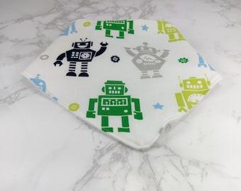 Robots Bandanna Bib, Bandana Bid, Fleece Lined Bib, New Born Bib, Toddler Bib, Velcro Bib, Drool Bib, Baby Accessories, Baby Gift