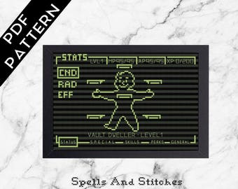 Fallout Pipboy glow in the dark gaming cross stitch pattern!