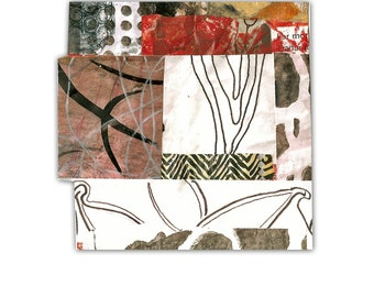 """The Following Spring - Original Collage with Weathered and Hand Drawn and Painted Papers 4 x 4 on 5 x 5"""" Backing"""
